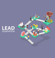 lead generation strategy marketing process of vector image