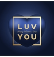 Love You Heart on Blue Background Golden