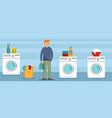 man at laundry clothes banner horizontal flat vector image vector image