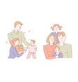 mother and father children family portrait vector image vector image