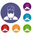 muslim preacher icons set vector image