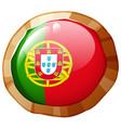 portugul flag on round badge vector image