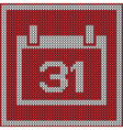 Red calendar icon on wool knitted texture vector image
