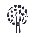 restaurant food icons in form of sphere with fork vector image vector image