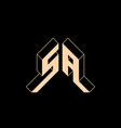 sa - monogram or logotype isometric 3d font vector image