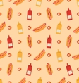 Seamless Pattern with Hot Dogs Bottles of Mustard vector image