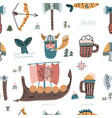 Seamless pattern with viking their armor beer and