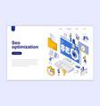 seo optimization modern flat design isometric vector image vector image