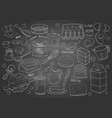 set hand drawn elements for cooking pastry on vector image