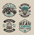set vintage logos for camping theme vector image vector image