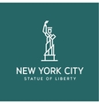 statue liberty outline logo into flat vector image