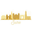 sucre city skyline golden silhouette vector image vector image