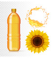 sunflower oil in bottle oil realistic splash vector image vector image