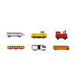 train icon set flat style vector image vector image