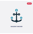 two color sailboat anchor icon from people skills vector image