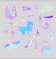 unicorn multicolor stickers with unicorns cake vector image vector image
