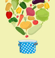 vegetables in saucepan boil vegetable soup vector image vector image