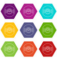vinyl record icons set 9 vector image