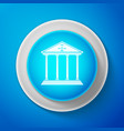 white courthouse icon isolated on blue background vector image vector image