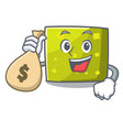 with money bag square character cartoon style vector image vector image