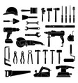 working hand tools silhouette construction vector image