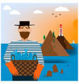 bearded man with fishes vector image vector image
