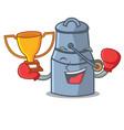 boxing winner milk can mascot cartoon vector image vector image