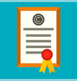 brand certificate icon flat style vector image