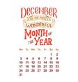 calendar for december 2 0 1 8 hand drawn vector image vector image