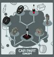 car part color concept isometric icons vector image