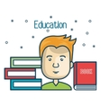 cartoon student education books read design vector image