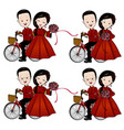 chinese wedding card bride groom riding bicycles vector image vector image