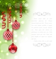 Christmas Card with Fir Branches and Glass Balls vector image vector image