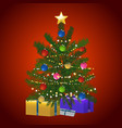 christmas tree and gift on red background vector image vector image