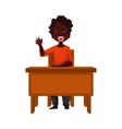 Clever school boy sitting at the desk holding a vector image
