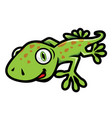cute green gecko crawling in cartoon style vector image vector image