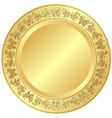 decorative gold plate vector image vector image