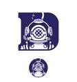 deep diver vintage initial d symbol vector image vector image