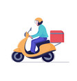 delivery man or courier riding scooter to service vector image