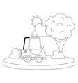 dotted shape agrimotor car in the city with tree vector image vector image