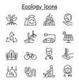 ecology environmental icon set in thin line style vector image