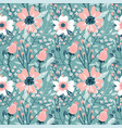 elegant seamless pattern with pink dog-rose vector image