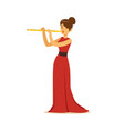 elegantly dressed female musician playing flute vector image vector image