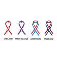 english faroe islands luxembourgish ribbons vector image vector image