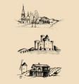 farm landscapes set sketches vector image