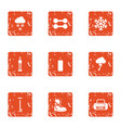 fitness recreation icons set grunge style vector image