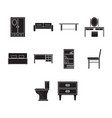 flat black furniture icon set vector image vector image