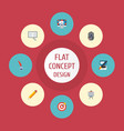 flat icons compass pen writing and other vector image vector image