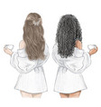 girls spa day two friends in white bathrobes vector image vector image