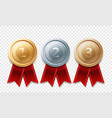 gold silver bronze champion medal awards vector image vector image